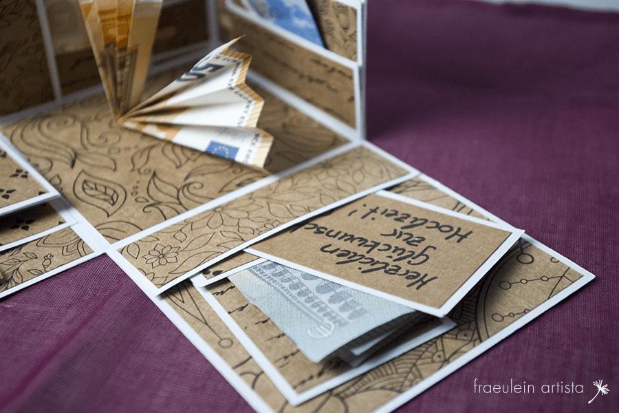 Explosionsbox für Geldgeschenke Geld Taggs