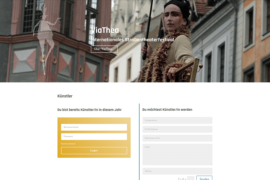 ViaThea-Website: Screenshot Künstler